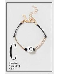 TOPSHOP - Black C Initial Bracelet - Lyst