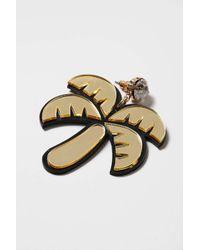TOPSHOP - Black Palm Tree Drop Earrings - Lyst