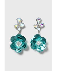 TOPSHOP - Blue Sequin Flower Earrings - Lyst