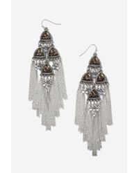 TOPSHOP | Metallic Beaded Chandelier Earrings | Lyst