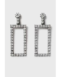 TOPSHOP - White Statement Rhinestone Rectangle Earrings - Lyst