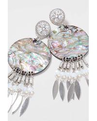 TOPSHOP - Metallic Abalone Disc Drop Earrings - Lyst
