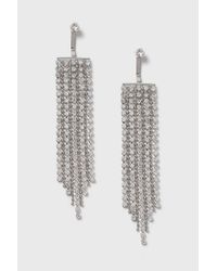 TOPSHOP - Multicolor Rhinestone Tassel Front And Back Earrings - Lyst