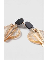 TOPSHOP - Metallic Gold Glitter Disc Earrings - Lyst