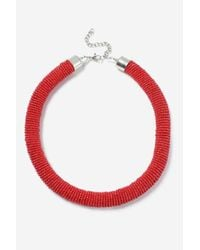 TOPSHOP - Red Block Bead Tube Necklace - Lyst