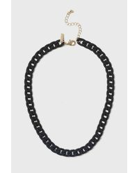 TOPSHOP - Black Rubber Chain Necklace - Lyst