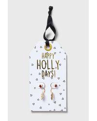 TOPSHOP | Metallic Christmas 'happy Holly Days' Earrings | Lyst