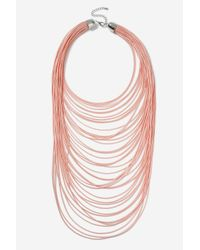 TOPSHOP - Pink Multi-row Cord Necklace - Lyst