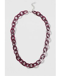 TOPSHOP - Purple Perspex Oval Linked Necklace - Lyst