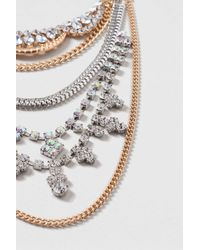 TOPSHOP | Multicolor Rhinestone And Chain Multirow Necklace | Lyst