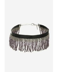 TOPSHOP | Black Tassel Bead Choker Necklace | Lyst