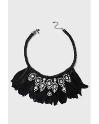 TOPSHOP - Black Mega Feather Statement Collar - Lyst