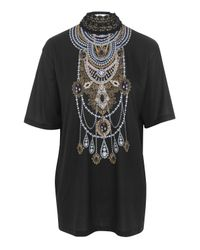Jaded London | Black Crochet Necklace T-shirt By | Lyst