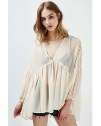 TOPSHOP | Natural Oversized Frill Blouse By Rare | Lyst