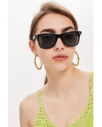 TOPSHOP - Black Square Frame Sunglasses - Lyst