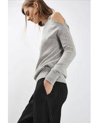 TOPSHOP - Black Matte Plisse Awkward Trousers - Lyst