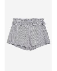 TOPSHOP - Gray Shirred Stripe Shorts - Lyst