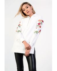 Glamorous - White Floral Embroidered Hoodie By - Lyst