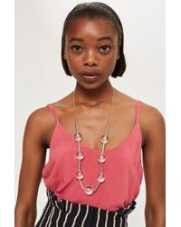 TOPSHOP - Metallic Crystal Ball Link Necklace - Lyst