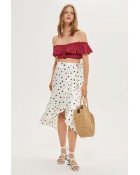 TOPSHOP - Red Spot Frilly Bardot Top - Lyst