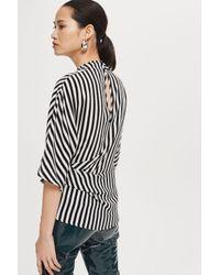 TOPSHOP - Black Striped Tuck Detail Top - Lyst