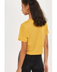 TOPSHOP - Yellow 'no Hard Feels' Cropped T-shirt - Lyst