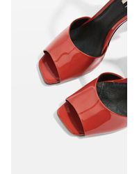 TOPSHOP Red Roux Patent Square Toe Shoes