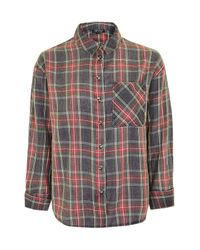 TOPSHOP Red Petite Check Shirt