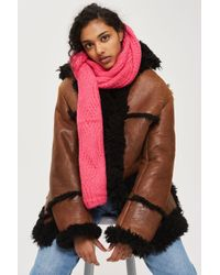 TOPSHOP   Pink Cable Knitted Scarf   Lyst