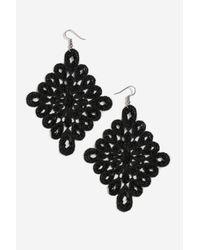 TOPSHOP - Black Crochet Diamond Drop Earrings - Lyst
