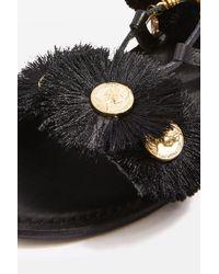 TOPSHOP Black Honey Coin Sandals