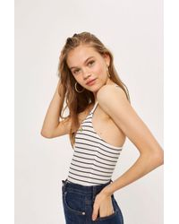 Topshop Stripe Embroidered Rainbow Bodysuit in White - Lyst 6b9653846