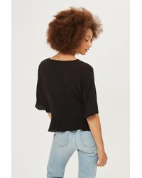 TOPSHOP Black Short Sleeve Ruched Blouse