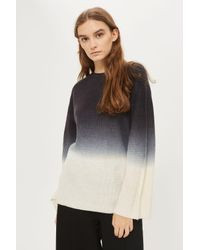 TOPSHOP - Black Dip Dye Wide Sleeve Jumper - Lyst