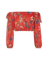 Love - Red Printed Long Sleeve Bardot Top By - Lyst