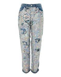 TOPSHOP - Blue Tall Ariel Sequin Hayden Jeans - Lyst