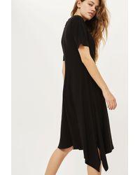 TOPSHOP | Black Drape Front Midi Dress | Lyst