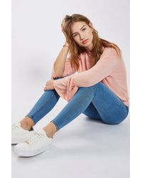 TOPSHOP - Authentic Blue Joni Jeans - Lyst