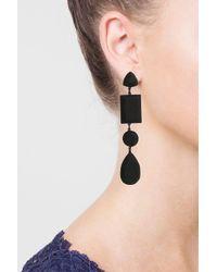TOPSHOP - Black Matte Facet Shape Drop Earrings - Lyst