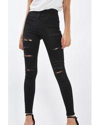 TOPSHOP - Black Super Ripped Joni Jeans - Lyst