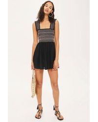 TOPSHOP - Black Shirred Mini Dress - Lyst