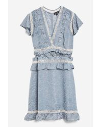 TOPSHOP - Blue Lace Up Mini Dress - Lyst