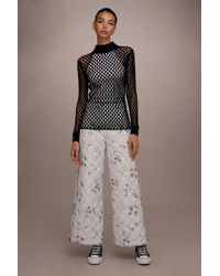 TOPSHOP - White floral Quilted Awkward Cropped Trousers By Boutique - Lyst