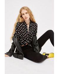 TOPSHOP - Black Side Knitted Elastic Leggings - Lyst