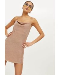 TOPSHOP - Multicolor Metal Cowl Neck Camisole Knitted Dress - Lyst