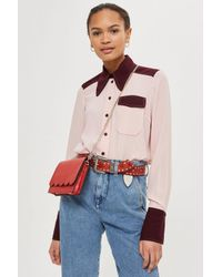 TOPSHOP - Red Leather Scalloped Cross Body Bag - Lyst