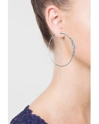 TOPSHOP - Metallic Rhinestone Side Hoop Earrings - Lyst