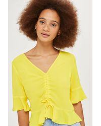 TOPSHOP Yellow Short Sleeve Ruched Blouse
