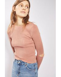 TOPSHOP | Pink Splice Elbow Knitted Top | Lyst