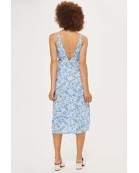 TOPSHOP | Blue Cornflower Print Cut Out Slip Dress | Lyst